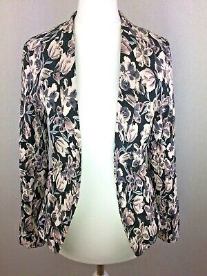 New Look Black Floral Blush Pink Nude Cropped Fitted Smart Blazer Fav Jacket 8