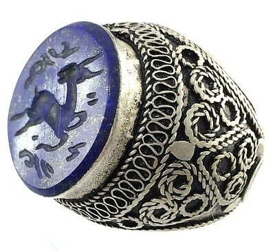 afghanistan ring rare antique style stone intaglio ancient roman deer seal no r8