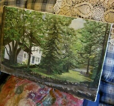 Vintage Authentic Oil Painting 16 x 25 Signed Sherman Victorian House Trees LOOK