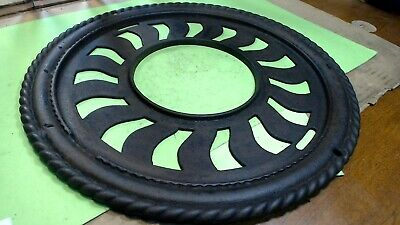 Vintage- CAST IRON Ornate Round- VICTORIAN Floor Stove pipe Register cover-vent