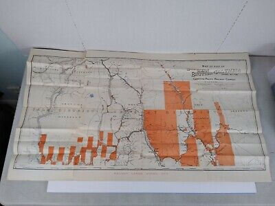 Original Vintage Map of Canadian Pacific Railway from 1902 British Columbia