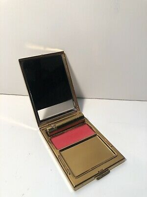 "Vintage Compact, BOURJOIS, New York Brass Gold Tone ""EVENING IN PARIS"" Art Deco."