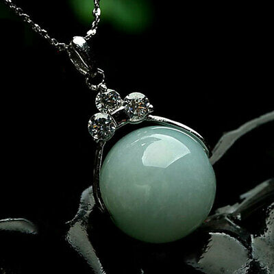 Chinese Natural Light Green Jade Handcraft Pendant 13mm Lucky Bead Necklace Gift