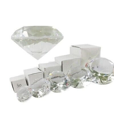 Crystal Clear Paperweight Faceted Cut Glass Giant Diamond Jewelry Decor Crafts