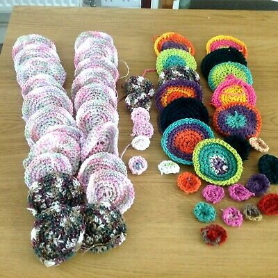 50 assorted colour crocheted flowers for craft projects