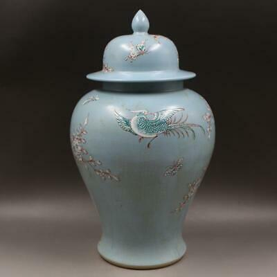 Chinese ancient antique hand make Pastel Flower and bird pots a32