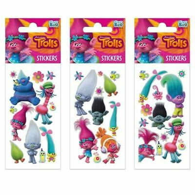 3 x TROLLS Sticker Sheets Ideal Party Bag Stickers