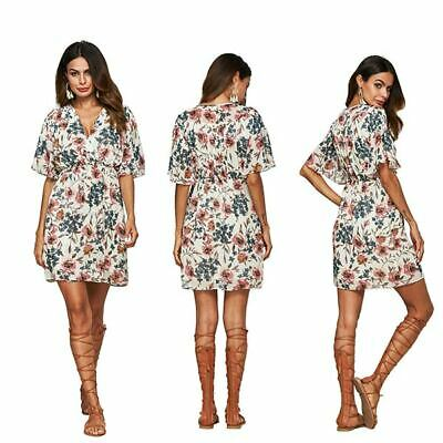 Evening Sundress Floral Boho Women Holiday Mini Dress Short Party Beach Summer