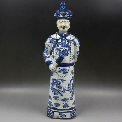 Chinese ancient antique hand make Blue and white QIANLONG statue a59