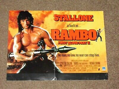 """Rambo First Blood Part II"" 1985 VHS Film Poster (Sylvester Stallone)"