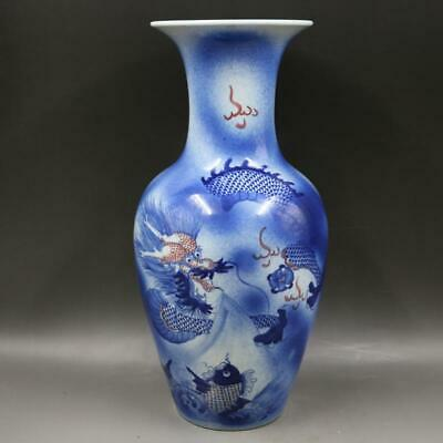 Chinese ancient antique hand make Dragon pattern vase a63