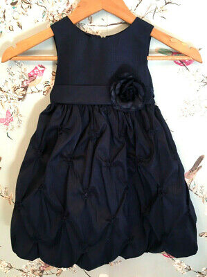 Cinderella Girl's Blue Birthday Party Ruched Dress with Belt, Year 3 Navy - 910