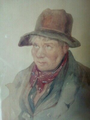 Antique portrait painting of a rural gentleman in hat, period Gilt foliage frame