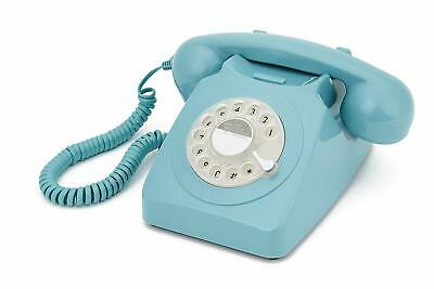 Retro Blue Phone Rotary Dial Vintage Telephone Corded Classic Landline Gifts