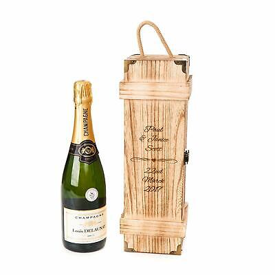Personalised Engraved Wooden Vintage Chest Wine Gift Box Champagne Wedding Engag