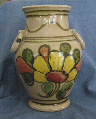 """Vintage Italian Pottery Urn Vase, 8"""", Hand Painted Floral, Toscany Italy, Signed"""
