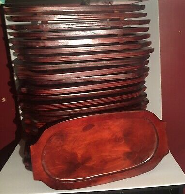 24 Mahogany Oval Wood Sizzler Platter Underliner restaurant supplies