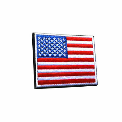 AMERICAN FLAG EMBROIDERED PATCH WHITE BORDER USA US w/ hook & loop Fastener