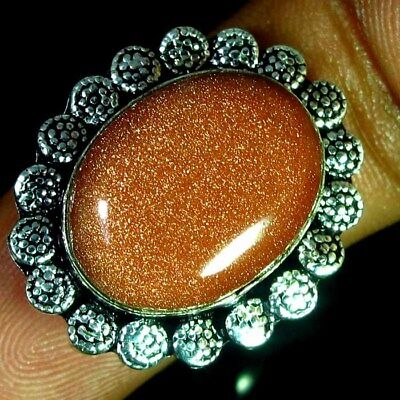 43.75 Ct 100% Natural Chatoyant Sunstone Oval Silver Plated Ring 9 us Cabochon