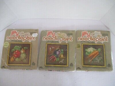 3 Jiffy Needlepoint Kits, VEGETABLES! 5204 Gourds+ 5205 Carrots+ 5207 Peppers+