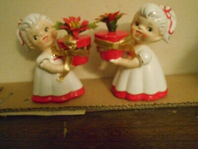 Rare 1961 Holt Howard Girl Figurines With Pot Of Poinsettias 5 In Tall
