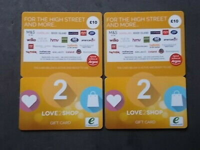 £20 LOVE TO SHOP GIFT CARD. (2 x £10). BRAND NEW AND GENUINE