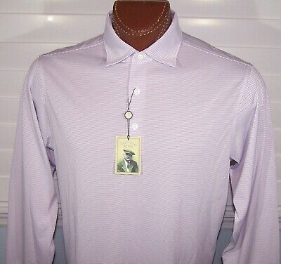 Donald Ross Collection long sleeve moisture wicking polo Shirt Sz M White-Grape