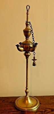 Antique 19th Century Four Spout Brass Lucerne Oil lamp - Working
