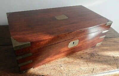 Military Campaign Mahogany and Brass Bound Writing Slope & Contents