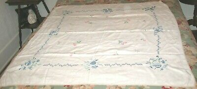 "VINTAGE TABLECLOTH HAND EMBROIDERY CROSS STITCH PINK & BLUE FLOWERS 46"" x 48"""