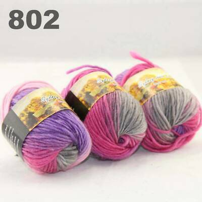 Surprise 3Balls x50gr Knitting Yarn Chunky Hand Wool Colorful Scarves Shawls 02