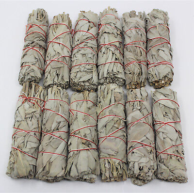 """12 White Sage Smudge Stick / Wands: 4 to 5 """" House Cleansing Negativity Removal"""