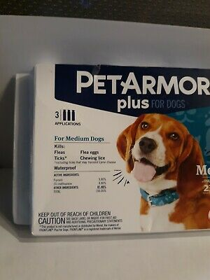 PET ARMOR PLUS FOR MEDIUM SIZE DOGS(23-44 lbs ) 3 APPLICATION PACK NEW OPEN BOX