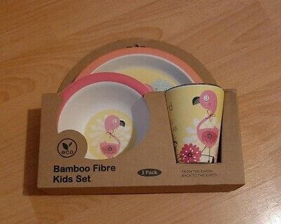 Bambooware  - Eco Bamboo Fibre Kids Set   - 3 Piece Flamingo