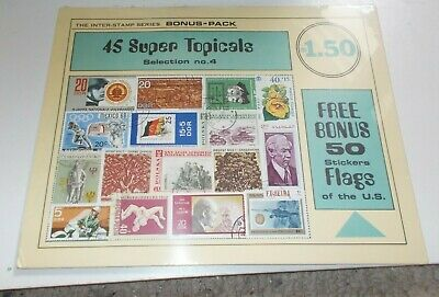 Stamp Collection Vintage Sealed Inter-Stamp Series 45 Topicals 50 Flag Stickers