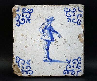 c1675, ANTIQUE ORIGINAL 17thC DUTCH DELFT BLUE AND WHITE WALL TILE, GENTLEMAN