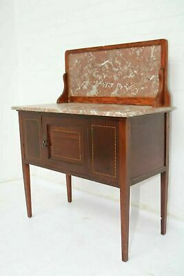 Vintage Edwardian Inlaid Mahogany Marble Topped Washstand Good Condition !!!