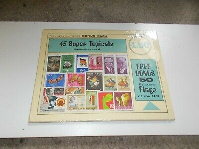 Stamp Collection Vintage Sealed Inter-Stamp Series 45 Topicals 50 US  Stickers