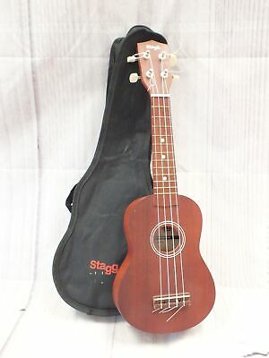 STAGG US10 LH 4 String Soprano Acoustic Ukulele Natural Brown Finish  - W17