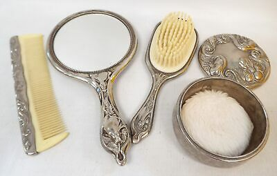 Vintage GROOMING SET Heavy White Metal With Decorative Design - D22