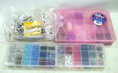 Collection Of 1.7kg Of JEWELLERY MAKING SUPPLIES Storage Boxe Beads String - G35