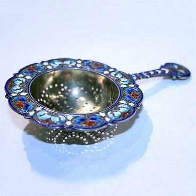 Antique Norwegian Silver-Gilt and Enamel Tea Strainer made in 19 century