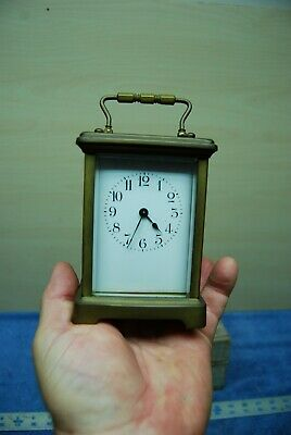 Antique French Carriage Clock Brass & Beveled Glass Small Portable.