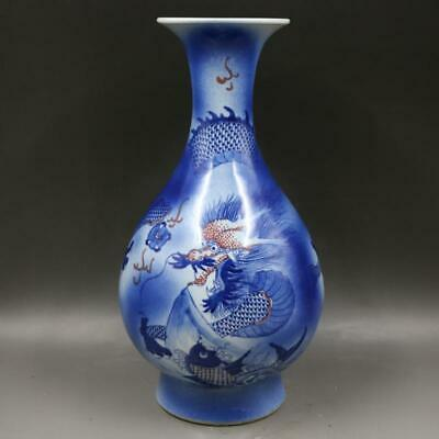 Chinese ancient antique hand make Blue and white Dragon pattern vase a73