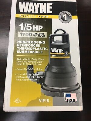 Wayne VIP15 Submersible Utility Pump 1/5HP 1700gph 57700-WYN1