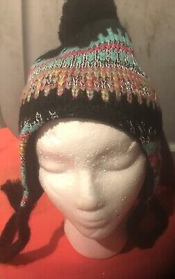Faded Glory Winter Knit Soft Hat Hood Cap Tie String Trapper One Size Black