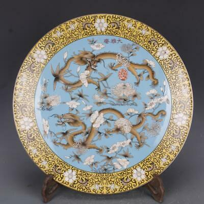 Chinese ancient antique hand make Pastel Dragon pattern plate a85