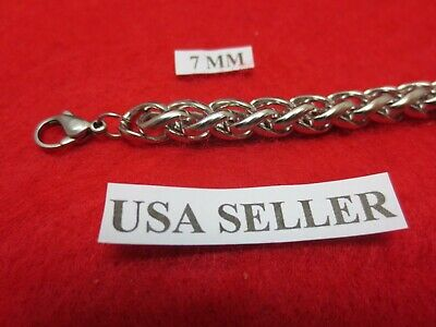 """24"""" Mens,Womens,Boys,Girls,7mm Stainless Steel Silver Braided Wheat  Necklace"""