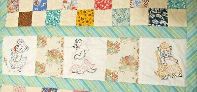 Hand Embroidered Kitty Cat Blocks & Patchwork Baby Quilt Machine Quilted 44x37""