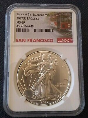 2017 (S) 1oz. American Silver Eagle Coin NGC MS-69 San Francisco (Trolley Label)